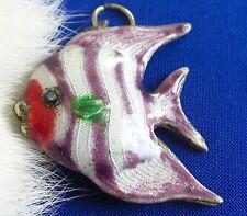 Antique Guilloche enamel Tropical Fish charm  old
