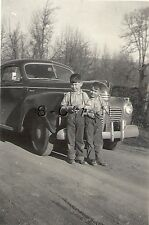 Vintage Real Photo- Family 1936 Chrysler Car- Young Boys- License Plate- 1942