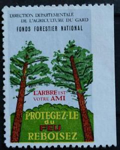 FONDS FORESTIER ARBRE FEU FORÊT LUTTE INCENDIE POMPIERS GARD VIGNETTE VINTAGE