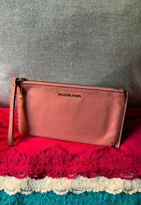 Michael Kors Mauve Pink Pebble Grain Leather Credit Card Slots Zip Wristlet
