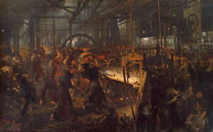 Adolph Menzel Eisenwalzwerk Poster Reproduction Paintings Giclee Canvas Print