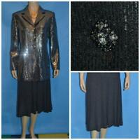 ST. JOHN Couture Knits Gray Jacket Skirt L 10 12 2pc Suit Buttons Sequined