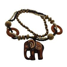 Novelty Men Women Wood Elephant Pendant Handmade Long Beaded Chain Necklace Gift