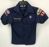 BSA Cub Boy Scouts of America Navy Blue USA Youth Medium With Patches