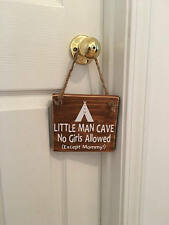 Little Man Cave Indian Tee Pee Wooden Nursery Boy's Room Door Sign