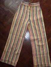 vtg plaid 60s 70s bell bottom high waist wool trouser pant women 9 USA union