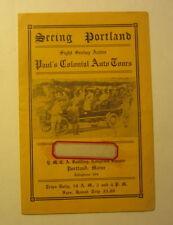 Old Vintage c.1910's - Paul's Sight Seeing Auto Tours Portland Maine - Brochure