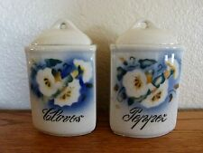 "2 Small Spice Canisters Jars 4.5"" Porcelain Vintage Germany CLOVES PEPPER floral"