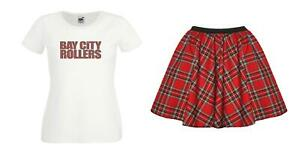 Ladies 1970s Bay City Rollers T-Shirt & Red Tartan Skirt Rock Pop Fancy Dress