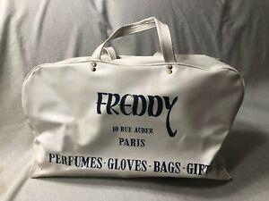 Vintage 1950s Freddy 10 Rue Auber Paris Carry On Duffel Weekend Bag Vinyl Footed