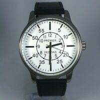 Premier Designs Mens 9840 White Dial Black Leather Band Watch