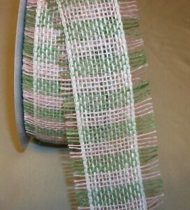 """3 yds. PINK & GREEN WOVEN JUTE FRINGED EDGE RIBBON  2 1/2"""" Wide"""