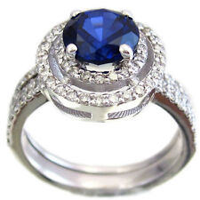 14K WHITE GOLD ROUND SAPPHIRE AND DIAMOND ART DECO STYLE RING AND BAND 1.75CTW