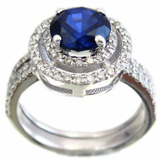 14K WHITE GOLD ROUND SAPPHIRE AND DIAMOND ART DECO BRIDAL RING AND BAND 1.75CTW