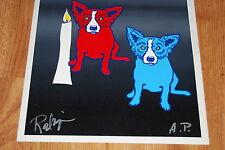 George Rodrigue Blue Dog A Light In The Dark Split Font Print Signed Artwork