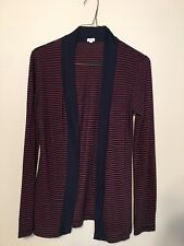 J.crew Cotton Blend Red Navy Striped Front Open Light Weight Cardigan Sz Xs