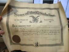1905 Sons of the Revolution Certificate David Cook Rhode Island State Soldier