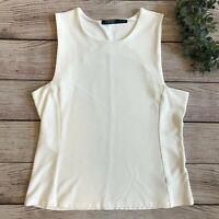 Lauren Ralph Lauren Womens Sleeveless Top Size XL Ivory White Structured Knit