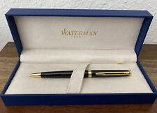 Waterman Hémisphère Ballpoint Pen Gloss Black 23k Gold Blue Ink Business NEW