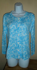 Blue White Floral Print Women's Cardigan Button Up Sweater XS