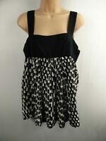 WOMENS MNG SUIT BLACK AND WHITE PATTERNED WIDE STRAPS SLEEVELESS TOP SIZE LARGE