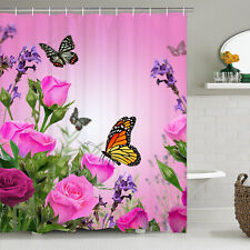 Butterfly Flower Shower Curtain Bathroom Curtain Partition Bathroom Decoration
