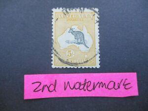 Kangaroo Stamps: 5/- Yellow 2nd Watermark Used    (e286)