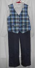 Boys 7 (3 piece) navy pants, white long sleeve button shirt, plaid cotton vest