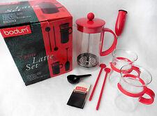 Bodum Latte Set 7 Piece RED FRENCH PRESS 2 Glasses Made Denmark New NIB