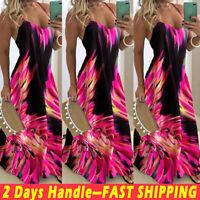 Women's Bohemia Long Maxi Sling Dress Ladies Summer Beach Party Strappy Sundress