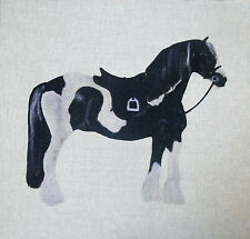 "18"" TEX EX ORIGINAL PIEBALD COB PONY HORSE CUSHION PANEL LINEN BLACK WHITE HORSE"