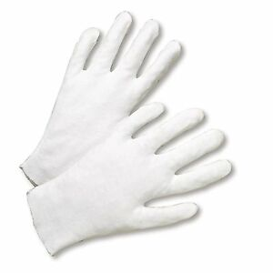 6 Pairs White Coin Jewelry Silver Inspection Cotton Lisle Gloves - Size X-Large