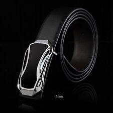 Men's Black Waist Strap Genuine Leather Belts Waistband Automatic Buckle
