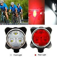 Bicycle Cycling Bike Head Front Rear Tail 3 LED light USB Rechargeable 4 mode T-