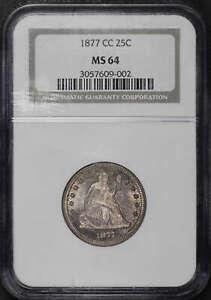 1877-CC Liberty Seated Quarter  NGC MS-64