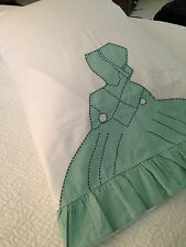 Lovely Vintage Appliquéd Colonial Woman Pillowcase Set