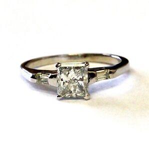 14k white gold IGI clarity enhanced 1.10ct princess diamond engagement ring 2.4g