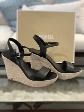 Michael Kors Jill Espadrille Black Leather Wedge Platform Sandals 8.5