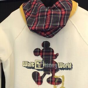 Disney Parks Mickey Mouse Sweatshirt Hooded Ladies Size 1X Off White Plaid 1971