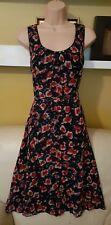 Pretty LINEA Red & Blue Floral Tea Dress Size 12 *L@@K* Vgc