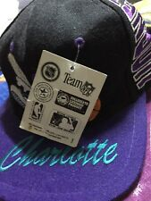 Charlotte Hornets Vintage Snapback Hat Starter New With Tags Purple And Black