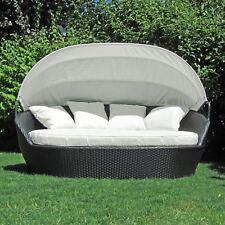 XXL Poly Rattan Sonneninsel Sonnenliege Strandkorb Garten Lounge Muschel 195cm