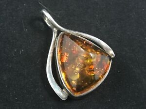 Polish 925 sterling silver and amber Art Nouveau style pendant