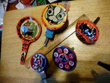 5 Vintage Tin Litho Holloween Noise Makers Tin Toys