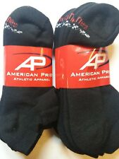 6 Pair HANES X-TEMP Black Cotton Stretch Athletic Ankle Sock Size10-13.