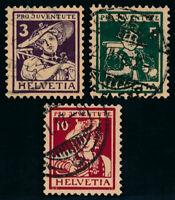 SCHWEIZ 1916, MiNr. 130-132, 130-32, sauber gestempelt, Mi. 150,-