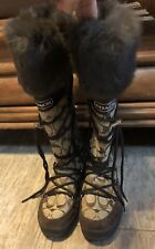 Authentic Coach LeighAnn Snow-boot with Real Rabbit Fur! Women's size 6 Medium