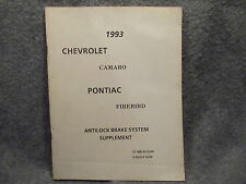 1993 Chevrolet Camaro Pontiac Firebird Antilock Brake Supplement Manual W469