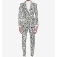 Alexander McQueen Runway Ivory Black Faded Leopard Jacquard Suit IT44 UK34