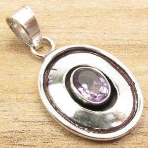 """Place Bid For Just 0.99ct !! AMETHYST Pendant Jewelry  1.3"""" 925 Silver Plated"""